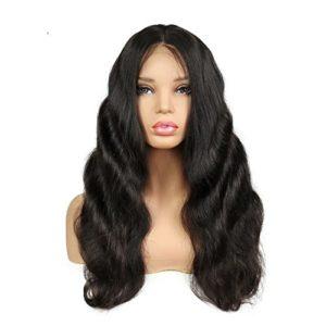 Sun Goddess 250 % De Densité Positive Dentelle Vague Corps Cheveux Naturels Perruque Black,Naturel,24Cm