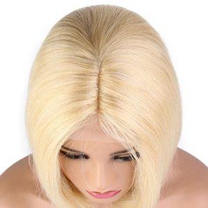 Sun Goddess Blonde Perruque Avant Délié Naturel Pré Pluck Remy Brésilien Cheveux,#613,14Pouces