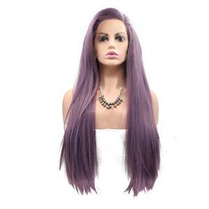 Sun Goddess Des Cheveux Lisses Et Soyeux Synthétique Perruque Lace Front Violet Pour Les Femmes Résistantes À La Chaleur De La Partie Latérale De Cheveux De Fibre Parti Cosplay Perruques, Violet, 26Cm