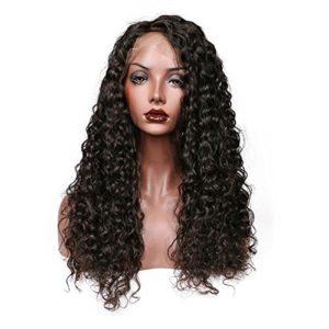 Sun Goddess Vague Profonde Cheveux Full Lace Perruque De Cheveux Humains Avant Les Femmes Dentelle Noir Naturel,Perruque 24Pouces,Natura