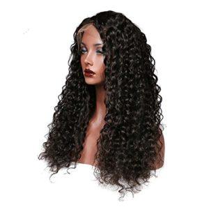 Sun Goddess Vague Profonde Cheveux Perruque Front Lace 360 Brésilien Noir Naturel Remy Hair 150% Cheveux Humains Densité,A,24Cm