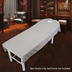 SUPEWOLD Housse de table de massage, drap de lit de massage, pour table de soins de SPA, de beauté, de cosmétique, avec trou pour le visage, drap-housse en tissu éponge, gris, 80cmx190cm