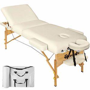 TecTake Table Lit de Massage Pliante Portable – diverses couleurs au choix (Beige)