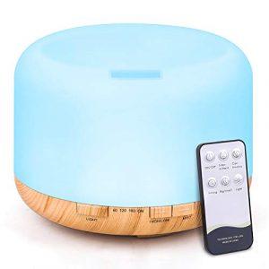 Tenswall 500ml Diffuseur d'Huiles Essentielles, Télécommande d'humidificateur Ultrasonique Sans BPA avec 7 Couleurs Lumières LED pour la Maison, Yoga, Bureau, SPA, Chambre