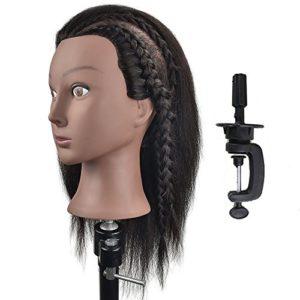 Tête de mannequin Afro 100% cheveux naturels Coiffure Tête d'entraînement Tête de mannequin Cosmétologie poupée (Table Clamp support inclus)