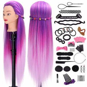 Têtes d'exercice pour coiffure, MYSWEETY 66CM 100% Cheveux Fibre Synthétique pour Salon de Coiffer Enfant, Violet Coloré Tête Mannequin avec Table Support & Accessoires de tressage