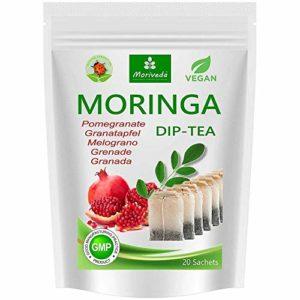 Thé Moringa 100% naturel et végétalien (en option mélange de feuilles, pomme-cannelle, grenade, gingembre, menthe). 1A Quality (20 sachets de thé Moringa-Grenade)