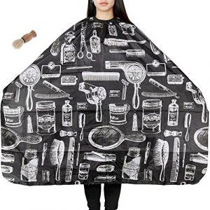 Tissu de Coupe de cheveux, Lictin Cape de Cheveux Tissu étanche Salon de Beauté avec Brosse à Cheveux de Coiffure