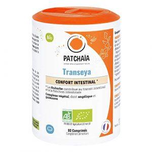 Transeya • BIO • Transit optimal • Paresse intestinale • Rhéine Rhubarbe • Angélique Guimauve • Transit lent • 80 Comprimés • Fabriqué en france • Patchaïa