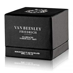 VAN BEESLEY Friedrich cire à cheveux I Cire de coiffage artisanale I Pâte capillaire extra forte en remplacement du gel I Haute qualité naturelle avec Finition Mate