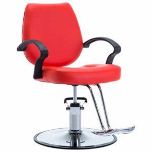 vidaXL Chaise de Coiffeur Similicuir Rouge Coiffure Tabouret Pivotant Fauteuil