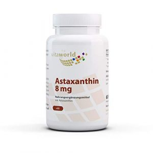 Vita World Astaxanthine 8mg forte dose 60 Capsules végétales sans additifs 100% naturel de Haematococcus pluvialis Made in Germany
