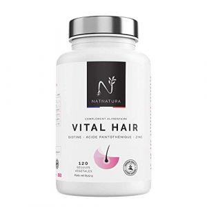 Vital Hair. Biotine + Zinc + Vitamine B5 + Luzerne + Millet. Supplément pour le soin des cheveux, des ongles et de la peau. 120 gélules végétales.