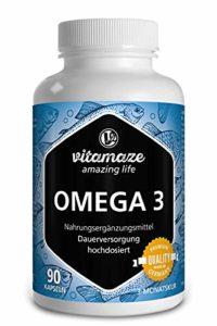 Vitamaze® Oméga 3 à fort dosage gélules, 1000 mg d'huile de poisson pure avec 400 mg (40%) d'EPA et 300 mg (30%) de DHA par softgel pendant 3 mois, biodisponibilité maximale, fabriqué en Allemagne