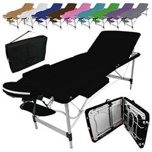 Vivezen ® Table de massage pliante 3 zones en aluminium + Accessoires et housse de transport – 10 coloris – Norme CE