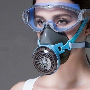 WFWPY Casque Protection Double respiratoire Anti-Poussiere Protection avec filtres remplaçables Facial Tactique à gaz antibuée pour Industrie Chimique gaz Anti-poussière Peinture en aérosol