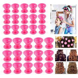 ZWOOS 30 Pcs Cheveux DIY Rouleaux Bigoudis, Bigoudis en Silicone, Magique Curleur Coiffure Outil pour Femmes, 2 Taille(Rose)
