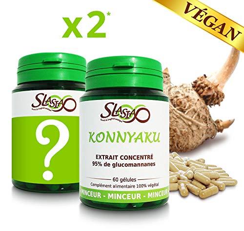 1 MINCEUR Coupe-faim absorbant graisses et sucres + 1 MYSTERE* – Konnyaku Extrait Konjac haute qualité en gélule 100% végétale 655mg – 60 gél. d'extrait = 180 gél. ordinaires – Piluliers x2