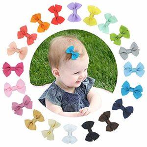 20x Pinces à Cheveux Barrettes à Cheveux Nœuds Papillon Bowknot avec Clips Couverts pour Bébé Filles Multicolore