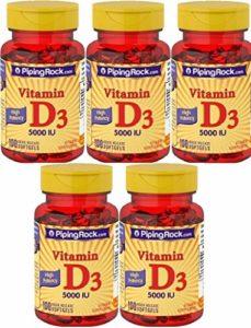 5 Vitamine D3 Forte puissance, 5000 IU, 100 Capsules