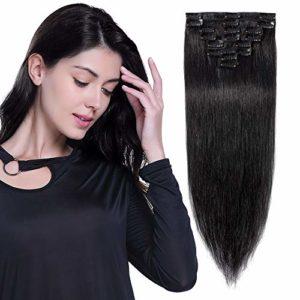 8″-24″ Extension a Clip Cheveux Naturel Lisse – Rajout 100% Vrai Cheveux Humain – 8 Bandes Volume Fin (#1 NOIR FONCE, 25cm-50g)