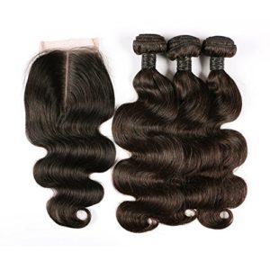 BLISSHAIR 7A Grade Human Hair Weave Extensions Brésiliens Hair Extension Perruque 3 Bundle trame + 1 lot de dentelle fermeture frontal