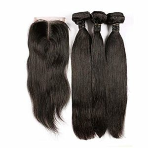 BLISSHAIR Cheveux humains vierges bresilienne rémy perruques 8 inch 3 paquets avec 1 fermeture