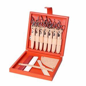 Boîte de ciseaux de coiffure haut de gamme avec 7 ensembles de ciseaux détachables, boîte de rangement pour outils de styliste de cheveux Boîte à outils – Cuir tanné végétal,Orange