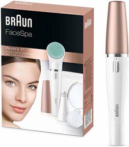 Braun FaceSpa851V 3-en-1 Épilateur Visage et Brosse Nettoyante, pour Épilation, Nettoyage du Visage, Action Revitalisante pour la Peau