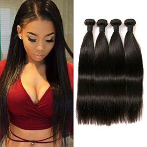 Bresilien Straight Hair Weave 4 Paquets Cheveux Humains en lot pas cher Naturel 14 16 18 20 inch.