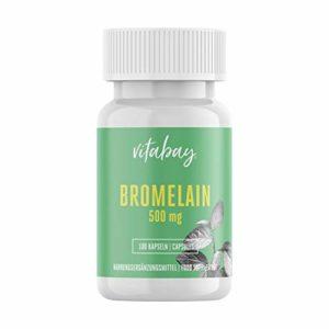 Bromelain 500 mg 1200 F.I.P, enzyme ananas naturel, hautement dosée sans additifs et additifs – 100 capsules végétaliennes