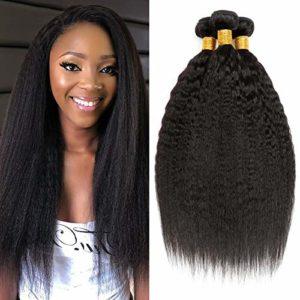 CLAROLAIR Meche Bresilienne Lisse Yaki Cheveux Bresilien Tissage Bresilien en lot Tissage Cheveux Humain Natual Couleur noire 300g total 16 18 20 INCH