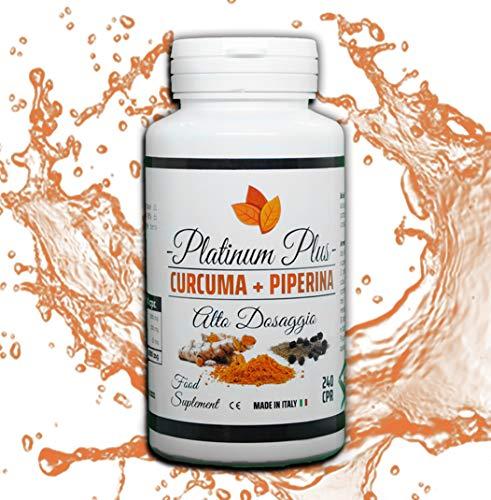 CURCUMIN, TURMERIC et PIPERINE – 240 comprimés. VEGAN, NATUREL, DIGESTIF,ANTI-INFLAMMATOIRE