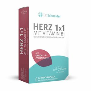 Dr. Schneider Herz 1×1 avec vitamine B1 ● Cure de 2 mois avec acides gras oméga-3 (EPA/DHA) ● vitamine E, B6, B12 ● magnésium, acide folique & Q10 ● 60 gélules
