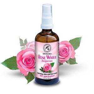 Eau de Rose 100ml – Rosa Damascena – Bulgarie – 100% Pur & Naturelle – Spray Tonifiant pour la Peau – Cheveux – Visage – Corps – pour Tous les Types de Peaux – Anti-Âge Soins de Peau – Sans Alcool