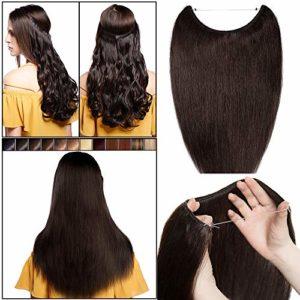 Extension Cheveux Naturel a Enfiler Fil Invisible Transparent Remy Cheveux Humain Sans Clips (#2 CHATAIN FONCE, 18″/45cm-65g)