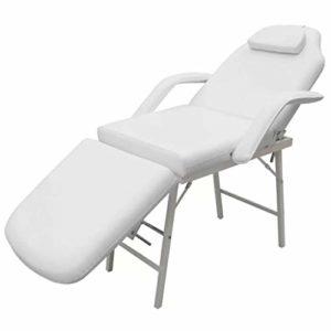 Fauteuil cosmétique de massage aluminium idéal esthétique ou pédicure repose-jambe simple pliante pliable blanc crème