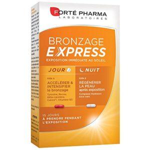 Forté Pharma Bronzage Express | Complément alimentaire pour intensifier le hâle pendant l'exposition | Programme Jour/Nuit | 30 Gélules pour 15 jours