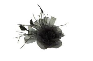 GIZZY Femme Noir Fleur Bibi avec Passants de Filet et Plumes sur Pince à Cheveux.