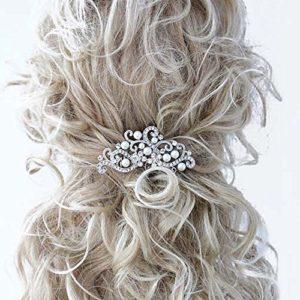 Handmadejewelrylady – Peigne à cheveux rétro en strass pour mariage – Accessoires de mariage