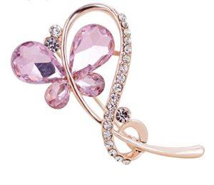 Hosaire Broche Epingle de Femme Nouveauté Style Purple Crystal Butterfly Bijoux Mariage Corsage de Pin Brooch de Décoration pour Vêtements écharpe