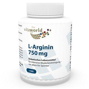 L-Arginine 750 mg Dose quotidienne 100 Capsules végétales Vita World 100% naturel (fermentation) de haute pureté (base)