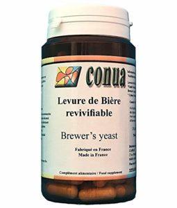 Levure biere vivante revivifiable 120 gélules en poudre 19 milliards d'UFC par jour : active revivifiante digestion peau cheveux ongles acné et barbe – FABRICATION FRANCAISE – Conua depuis 2003