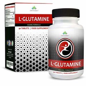 L-Glutamine – 1000mg Glutamine – Acide Aminé L-Glutamine – Pour Hommes et Femmes – Convient aux Végétariens – 90 Comprimés (3 Mois d'Approvisionnement) de Earths Design
