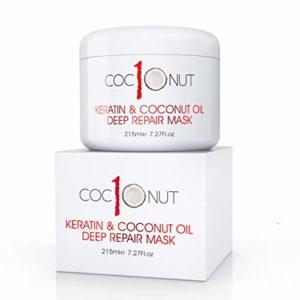 Masque réparation intense pour cheveux – kératine/huile de coco – soin intensif pour cheveux secs/abimés – 225 ml