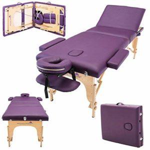 Massage Imperial® Chalfont -Table de massage Portable pro luxe – 3 Zones – Panneaux Reiki – Légère – Couleur : Violet