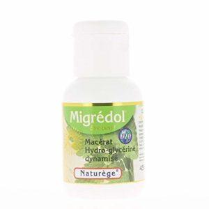 MIGREDOL – Laboratoire Naturège – compte goutte 50 ml – synergie concentrée de plantes Bio – Mélisse, Matricaire, Harpago, lavande. – Soulage – spasme – Céphalée