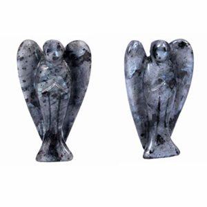mookaitedecor 2 Pièce Labradorite Ange Decoration,Pierre Guérison Figurine Ange Gardien de Poche Porte Bonheur Statue,1.5 Pouce