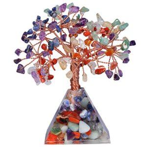 mookaitedecor Multicolore Arbre de Vie Pierre & Base Pyramide Décoration,Feng Shui Cristal Guérison Méditation Reiki Table Décor Porte Bonheur