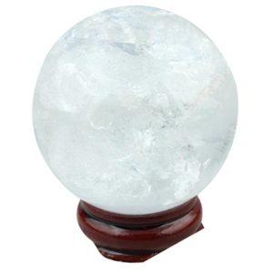mookaitedecor Naturelle Cristal de Roche Sphère Boule Decoratifs avec Support Bois,Reiki Pierres et Cristaux Minéraux Collection